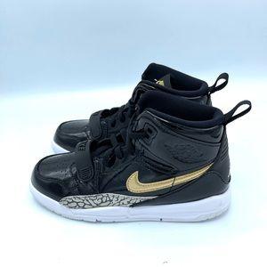 Nike Air Jordan 312 Legacy Black and Metallic Gold Youth Sneakers